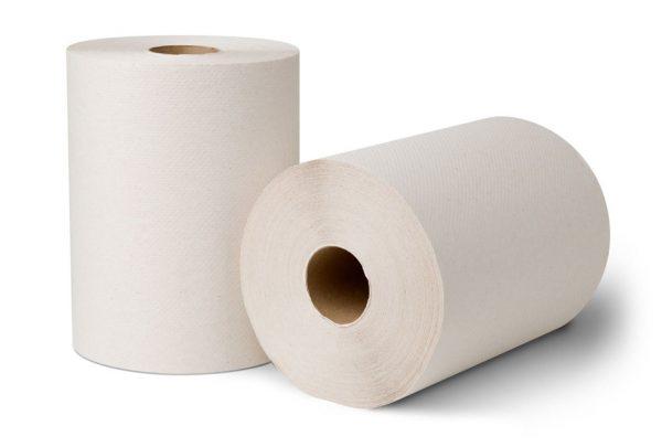 "ECOSOFT 8"" ROLL TOWEL - WHITE"