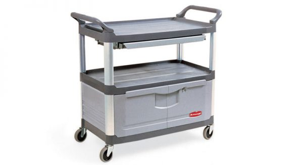 RUBBERMAID-Cart with Lockable Doors/Sliding Drawer