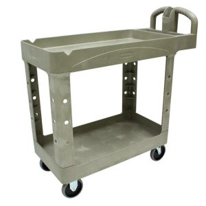 RUBBERMAID-2 Shelf Utility Cart with Lipped Shelf