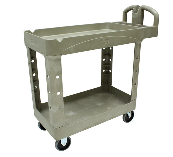RUBBERMAID-2 Shelf Utility Cart with Lipped Shelf