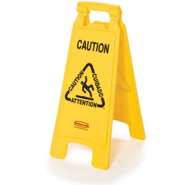 RUBBERMAID-Double Sided Sign-Caution Multilingual