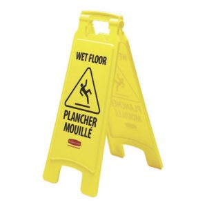 RUBBERMAID-Double Sided Sign-Caution Wet Floor Multilingual