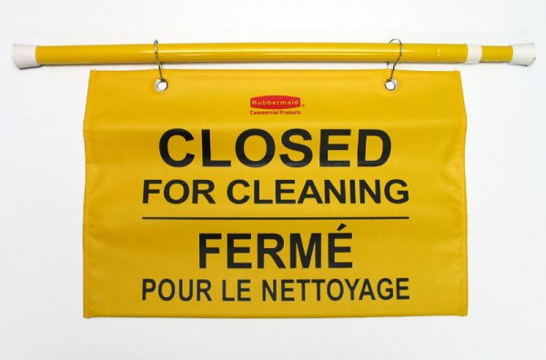 RUBBERMAID-Hanging Sign-Closed for Cleaning Multilingual